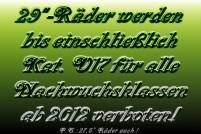 Verbot von Laufrädern >26 Zoll  für alle AYC-Klassen!